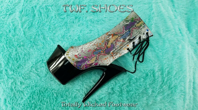 "Adore 1018SP Rainbow Color Snake Print Open Toe Ankle Boots 7"" Heels Size 9"