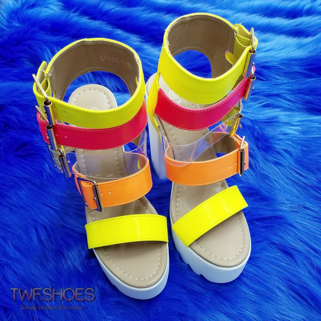 Samba Multi Buckle Strap Open Toe Chunky Heel Platform Shoes 6-11 - Neon Colors