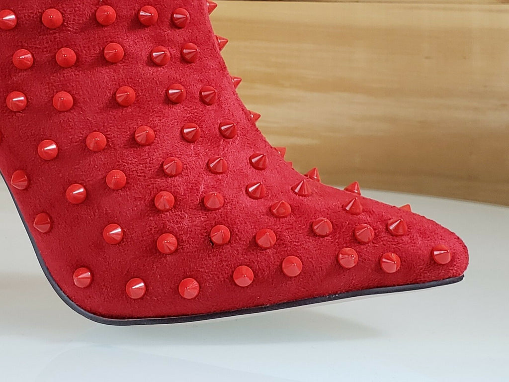 C & C Passion 2 Red Vegan Suede Spike Stud Pointy Toe High Heel Ankle Boots 6-11