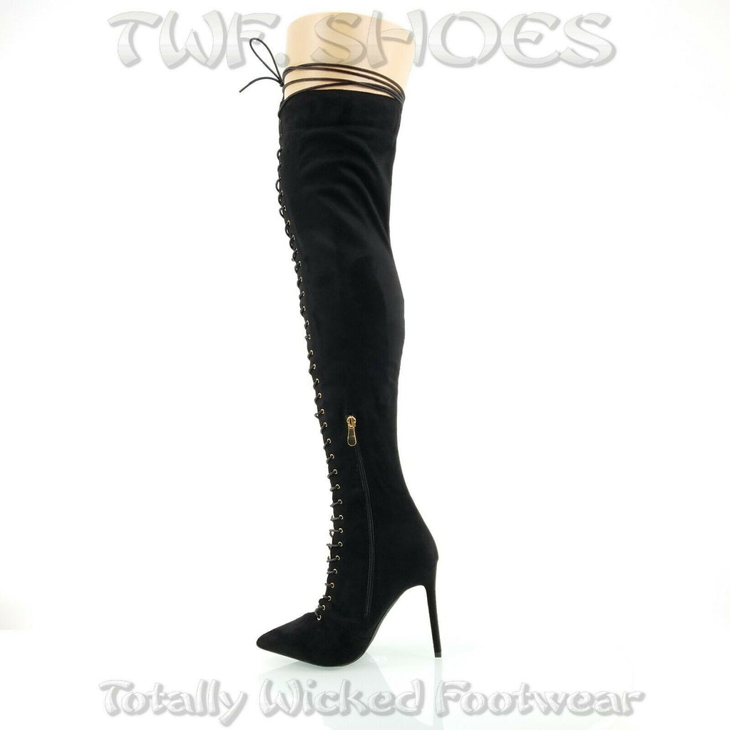 "So Me Amara Lace Up 4"" Stiletto High Heel Thigh Boots Black Lace Up"