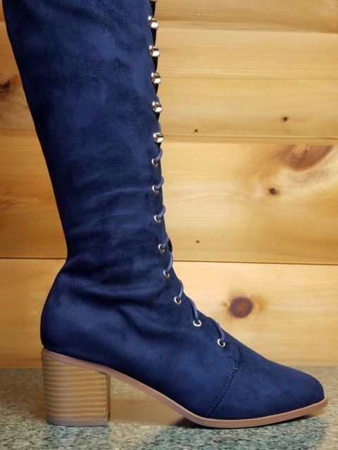 "So Me Vivian Almond Toe Corset Lace Up OTK Boots 2"" Block Heel Navy Blue"