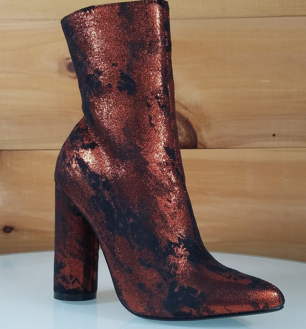 CR Metallic Orange Rust Cylinder High Heel Ankle Boots Size 6-11