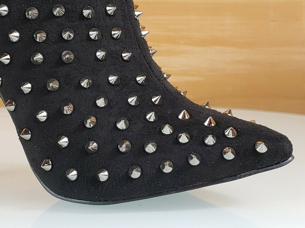 C & C Passion 2 Black Vegan Suede Spike Stud Pointy Toe High Heel Ankle Boots