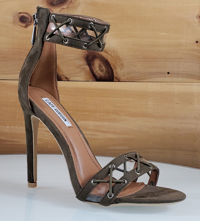 "CR Yuki  Khaki Brown Ankle Strap Design 4.5""  High Heel Shoes"