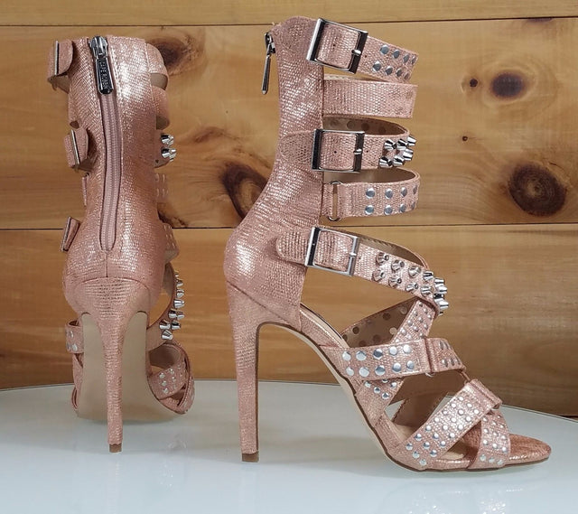 "CR Rose Gold Suzzy Straps & Silver Stud Design 4.5""  High Heel Shoes Boots"