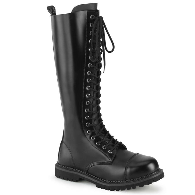 Riot 20 Goth Combat Biker Steel Toe Boots Black Leather Men Sizes 4-14
