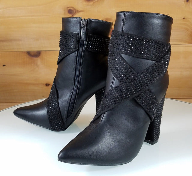CR Black Rhinestone Strap Chunky High Heel Ankle Boot