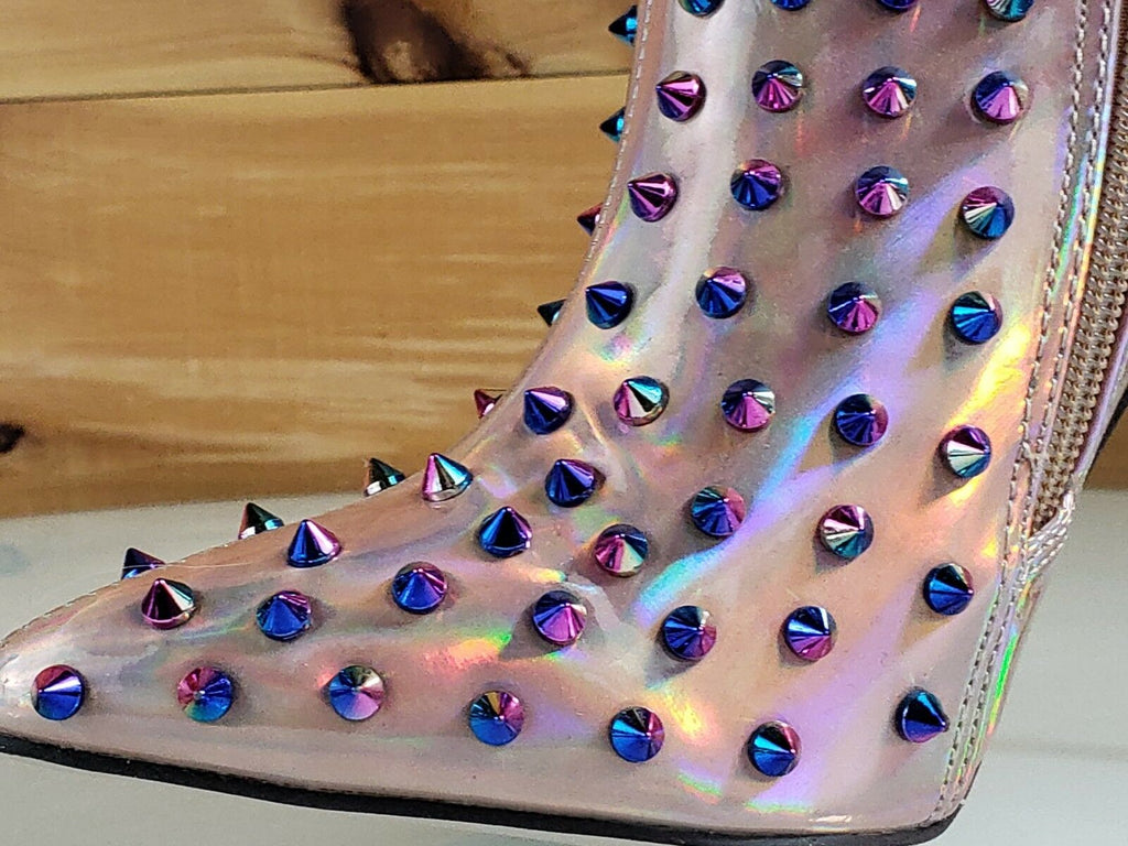 C & C Passion 2 Pink Hologram Spike Stud Pointy Toe High Heel Ankle Boots