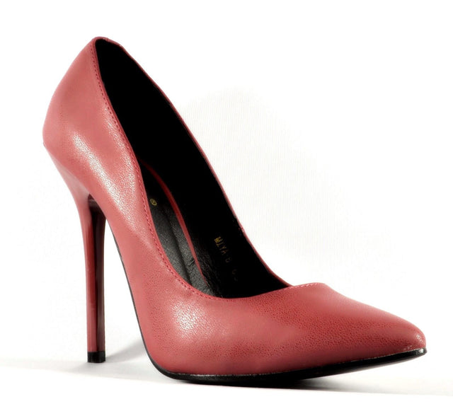 So Me Miya Burgundy Wine Pointy Toe Single Sole Pump High Heel Shoe