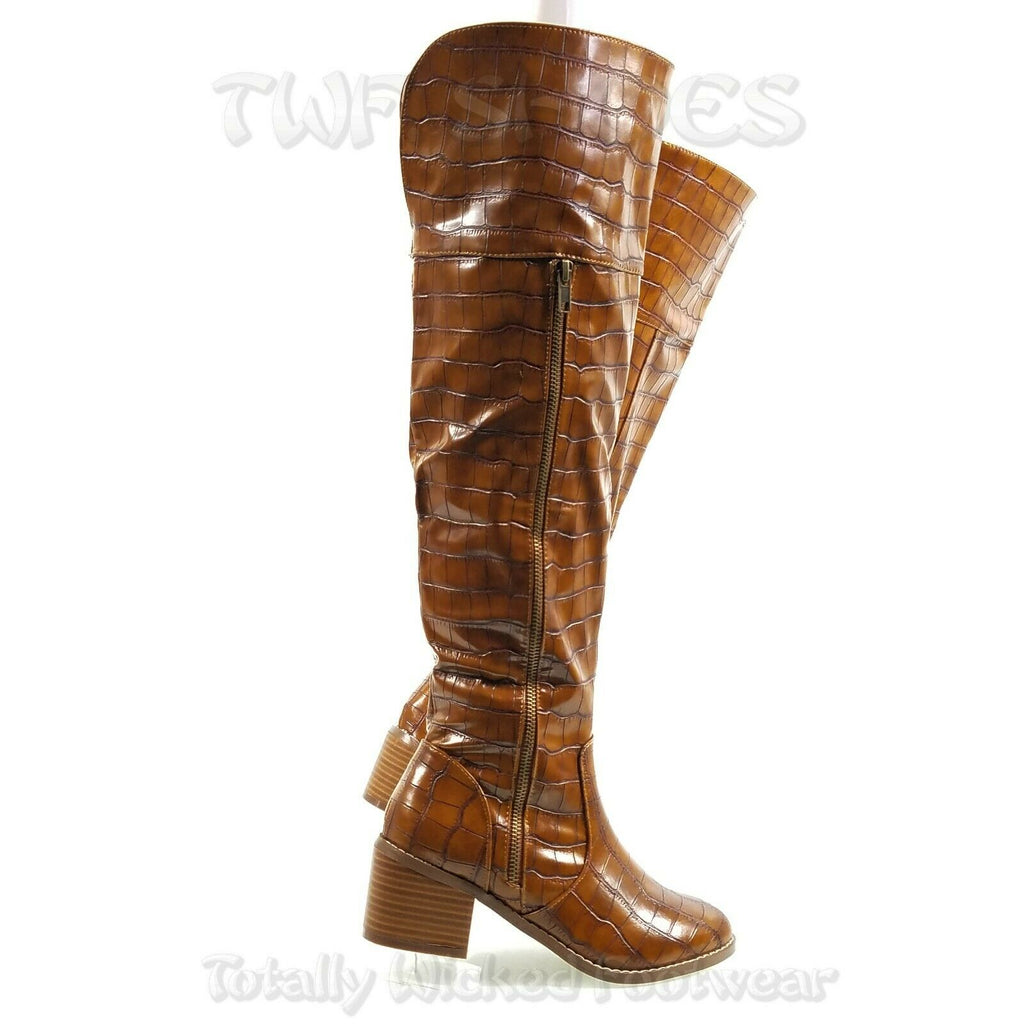 "Charlette Tan Croc Reptile Knee High Boots 2.5"" Kitten Block Heels 7-11"