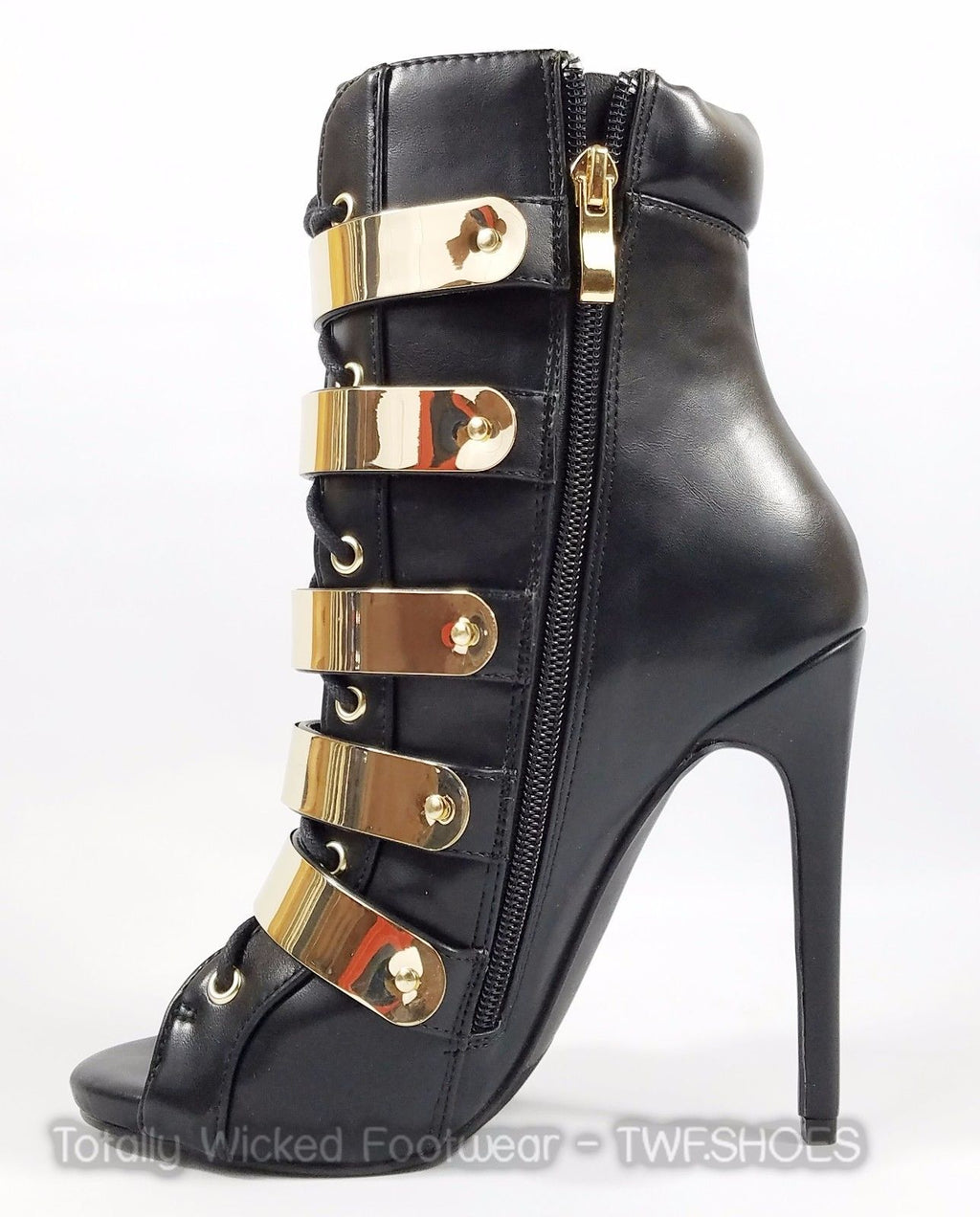 "Black Fleek Gold Band Open Toe Lace Up Ankle Boot 4.5"" Heel Nelly Bernal"