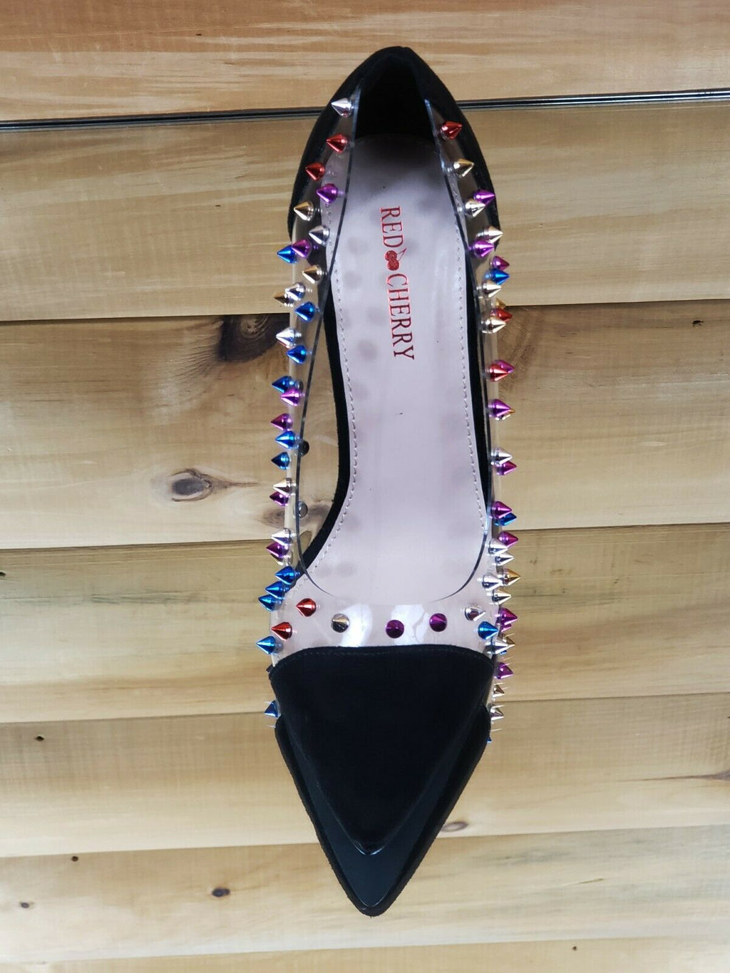 "Ricky Clear Black Multi Color Spike Stud Pointy Toe Pump Shoe 4.5"" High Heels"