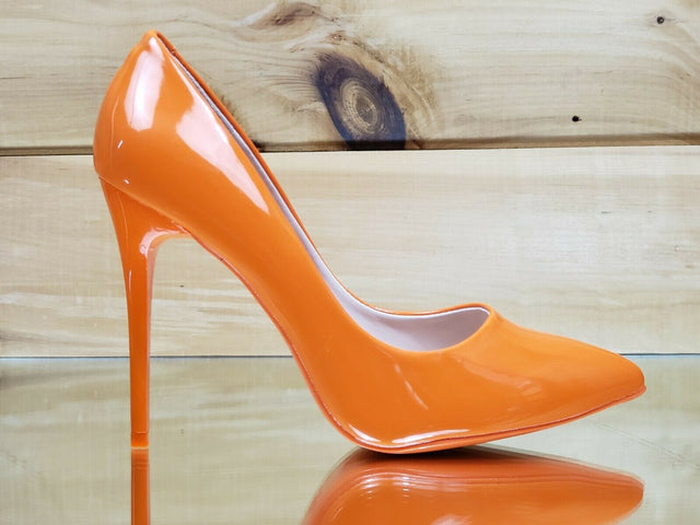 Orange Patent pump shoe