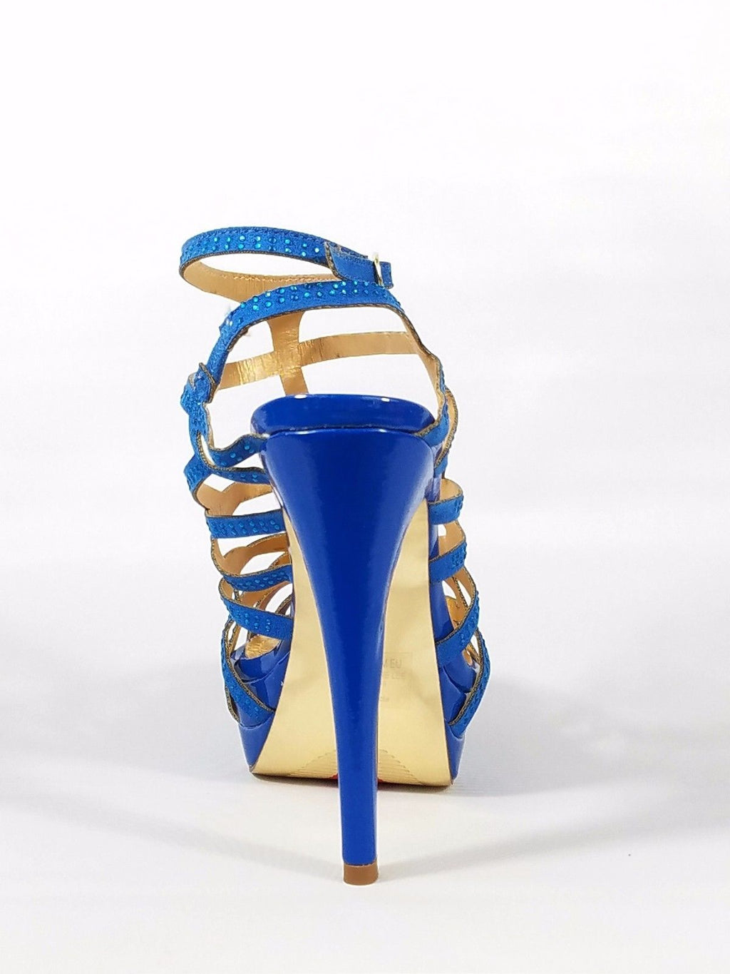 Luichiny Slingback Cut Out Rhinestone Strap Platform Sandal Shoe Blue