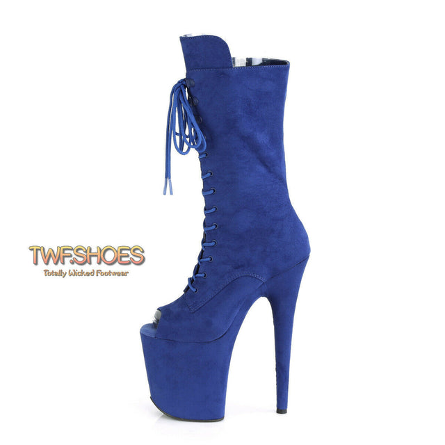 "Flamingo 1051FS Royal Blue V-Suede 8"" Heel Platform Open Toe Mid Calf Boots 5-12"