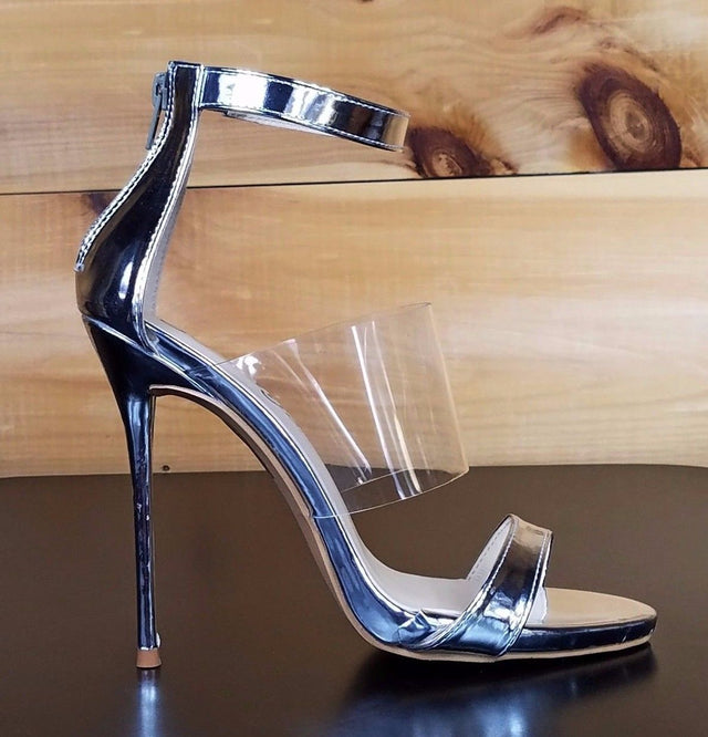 "So Me Victoria Peek A Boo Strap 5""  Stiletto Heel Shoe Silver"