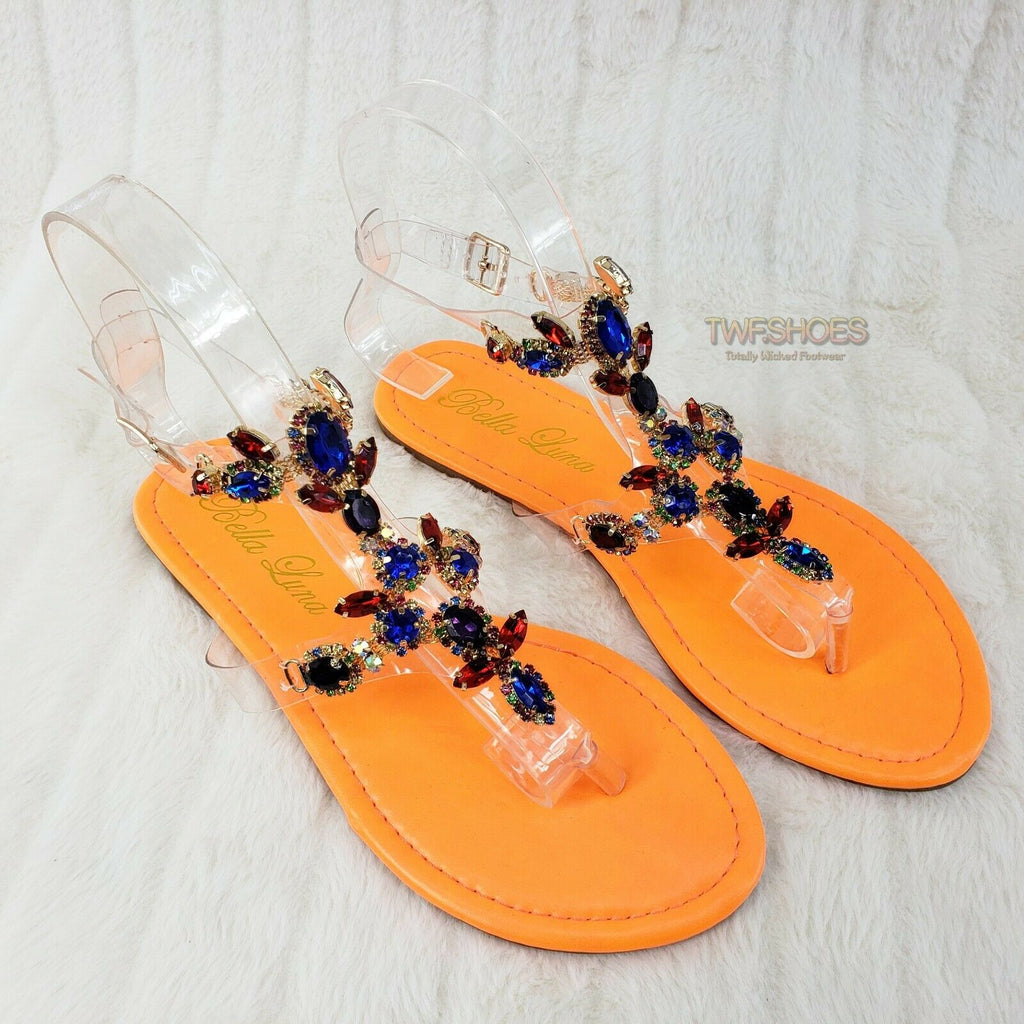 Bella Luna Colorful Rhinestone Slip On Thong Toe Smoking Summer Flats Orange