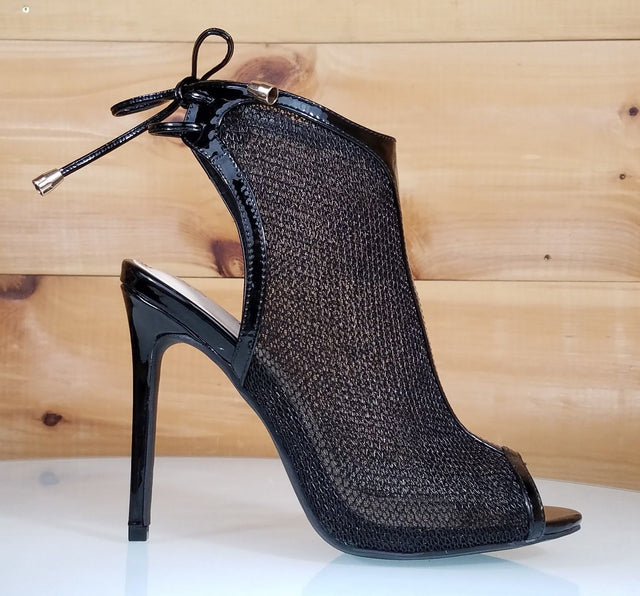So Me Mesha Black Mesh Open Toe Sling Back High Heel Shoe