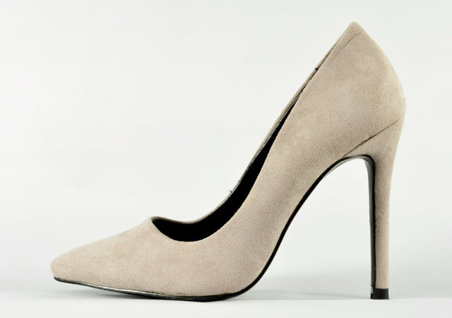 "Cinder Taupe Fabric Pointy Toe Pump Shoe 4.5"" Stiletto Heels"