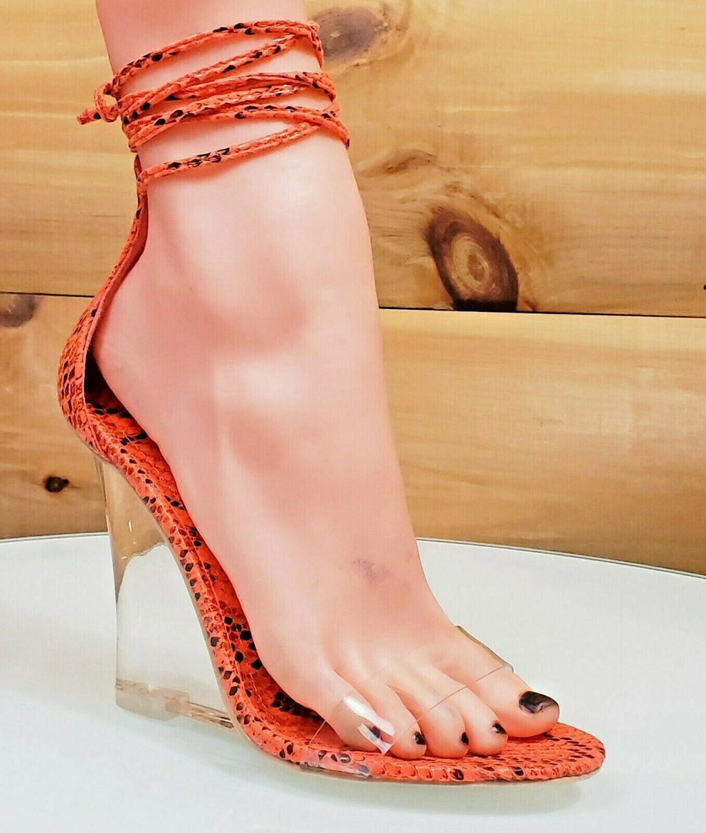 "CR Magnetic Strappy Bright Orange  4"" Clear Wedge & Toe Strap High Heel Shoes"
