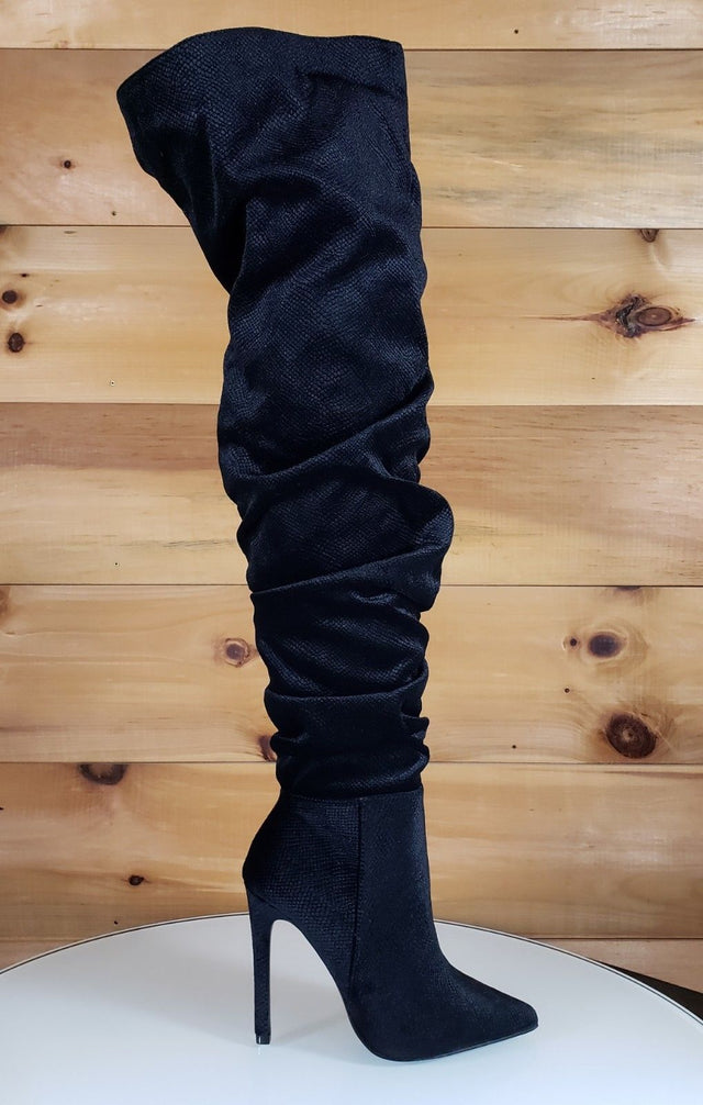 So Me Sheena Black Vegan Suede Scrunch Top High Heel OTK Above Knee Boots 6 -11