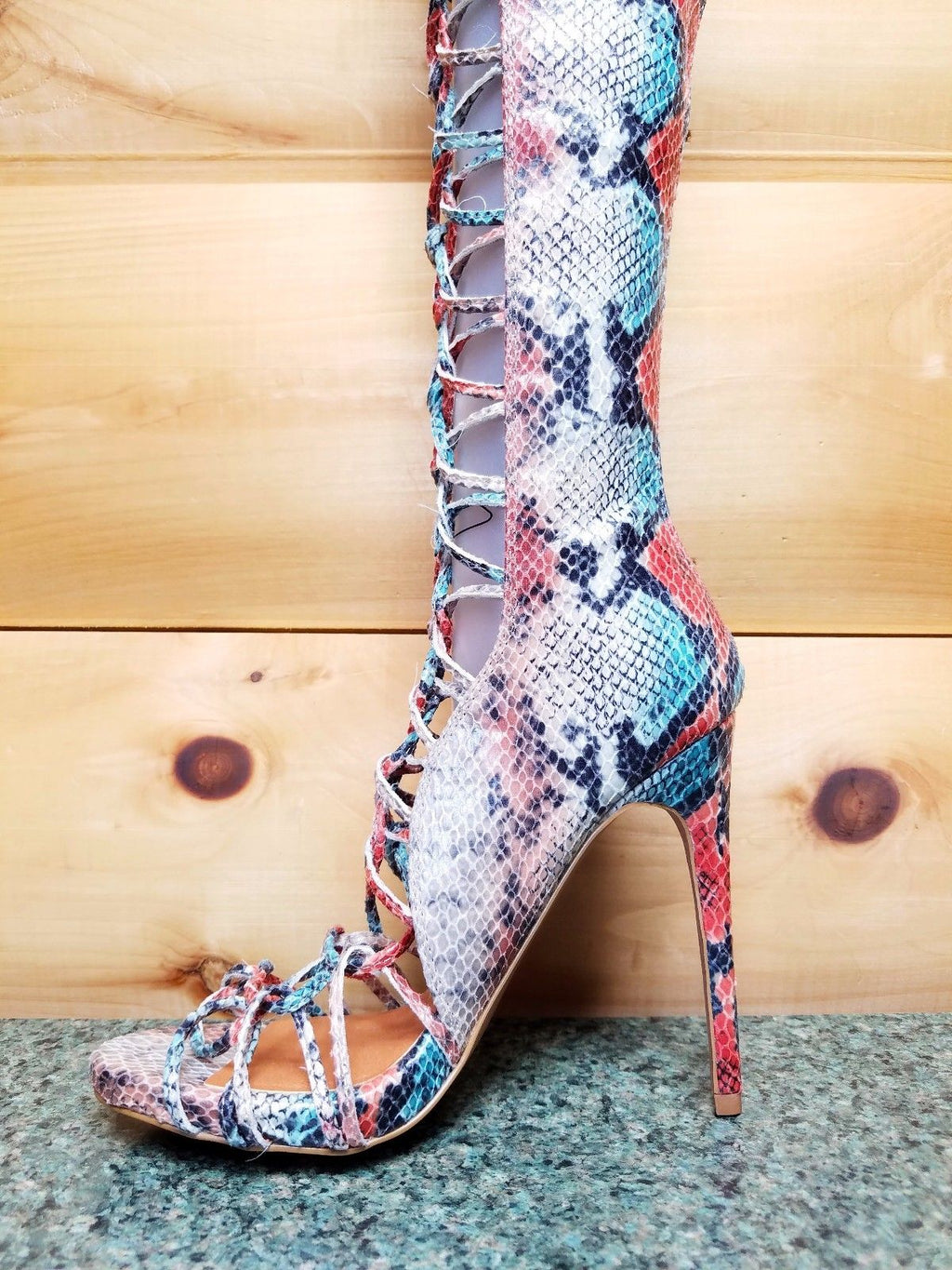 Nelly B Bernal Yanina Copper Snake Lace Up OTK High Heels Boots