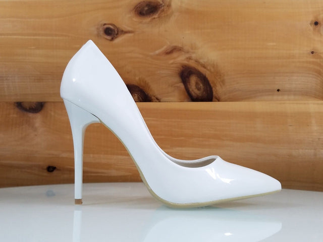 "WeeBoo White Patent 4.5"" High Heel Shoes Pointy Toe Pump 6.5-11"