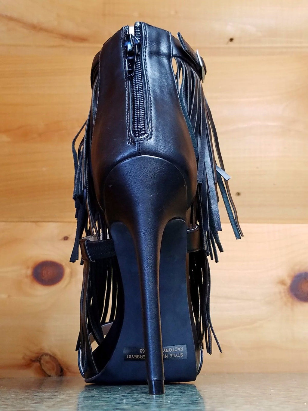 "WR Triple Fringe Strap Jersey Black 4.5"" Heel Closed Back Sandal Shoe"