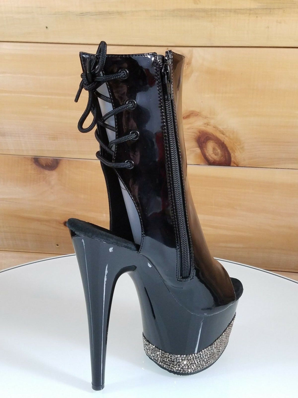"Adore 10183 Black Patent Rhinestone Platform 7"" High Heel Ankle Boot Shoes Size 6"