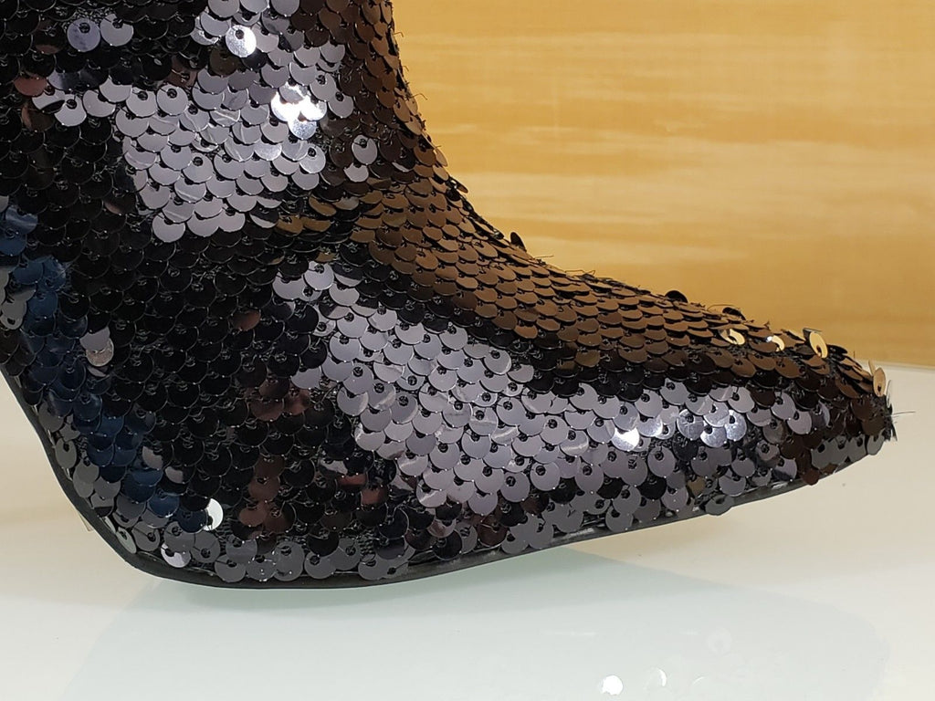 C & C Whiskey Black Sequin Pointy Toe High Heel Ankle Boots