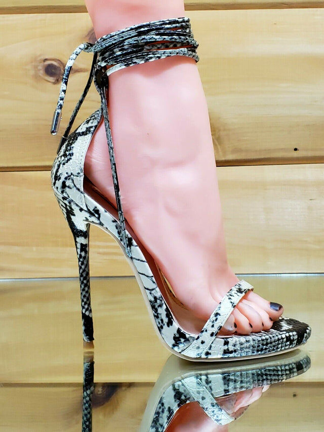 "CR Invader Snake Strappy Ankle Wrap Sandal 5"" Slim Stiletto High Heel"