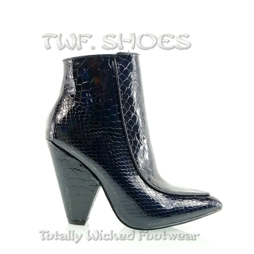 "Vipes Black Croc Pointy Toe Modern Cowgirl 4"" Cone Heel Ankle Boots Shoe"