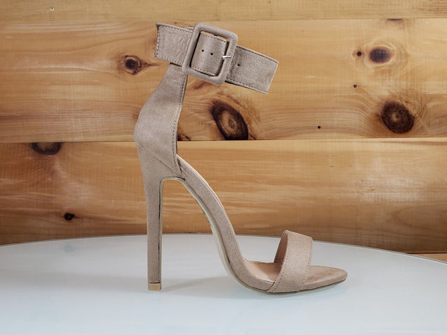"So Me Stellar Nude Beige Wide Big Buckle Ankle Strap 4.5"" High Heel Shoe"