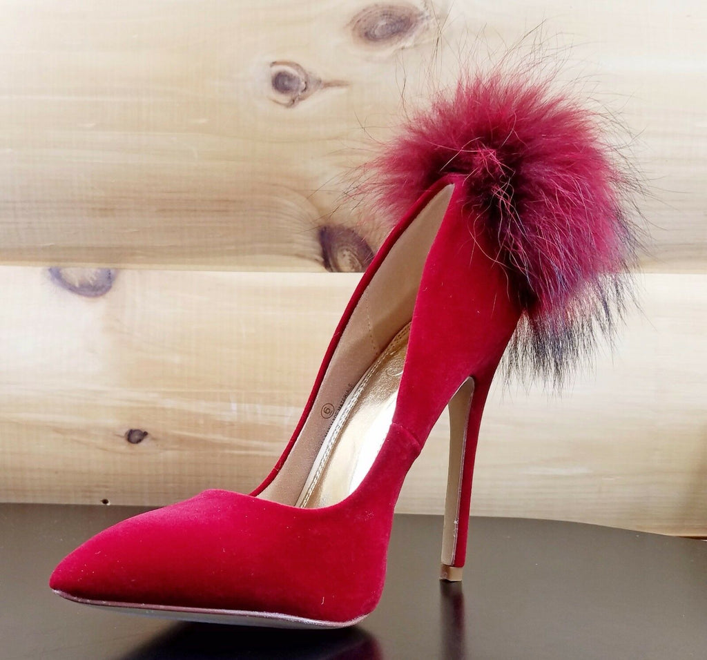 "Liliana Maroon Wine Velvet Single Sole Pom Pom Fur Pointy Toe Pump 5"" Heel Shoe"