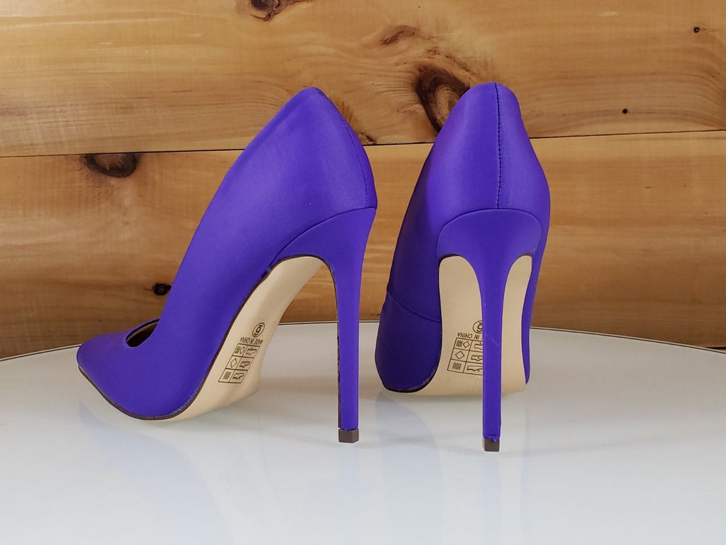 "So Me Purple Sateen Pointy Toe Stiletto Pumps - 4.5"" High Heel Shoes"