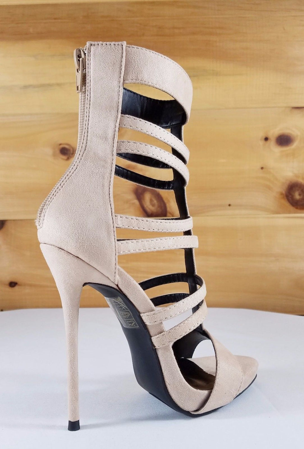 So Me Beyaz Nude Multi T-Strap Bootie High Heel Single Sole Shoe