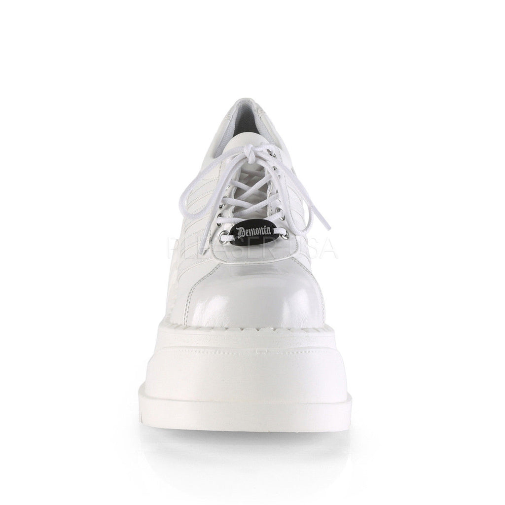 Demonia Stomp Platform Sneaker Oxford Wedge Shoes 6-11 White Patent & Matte