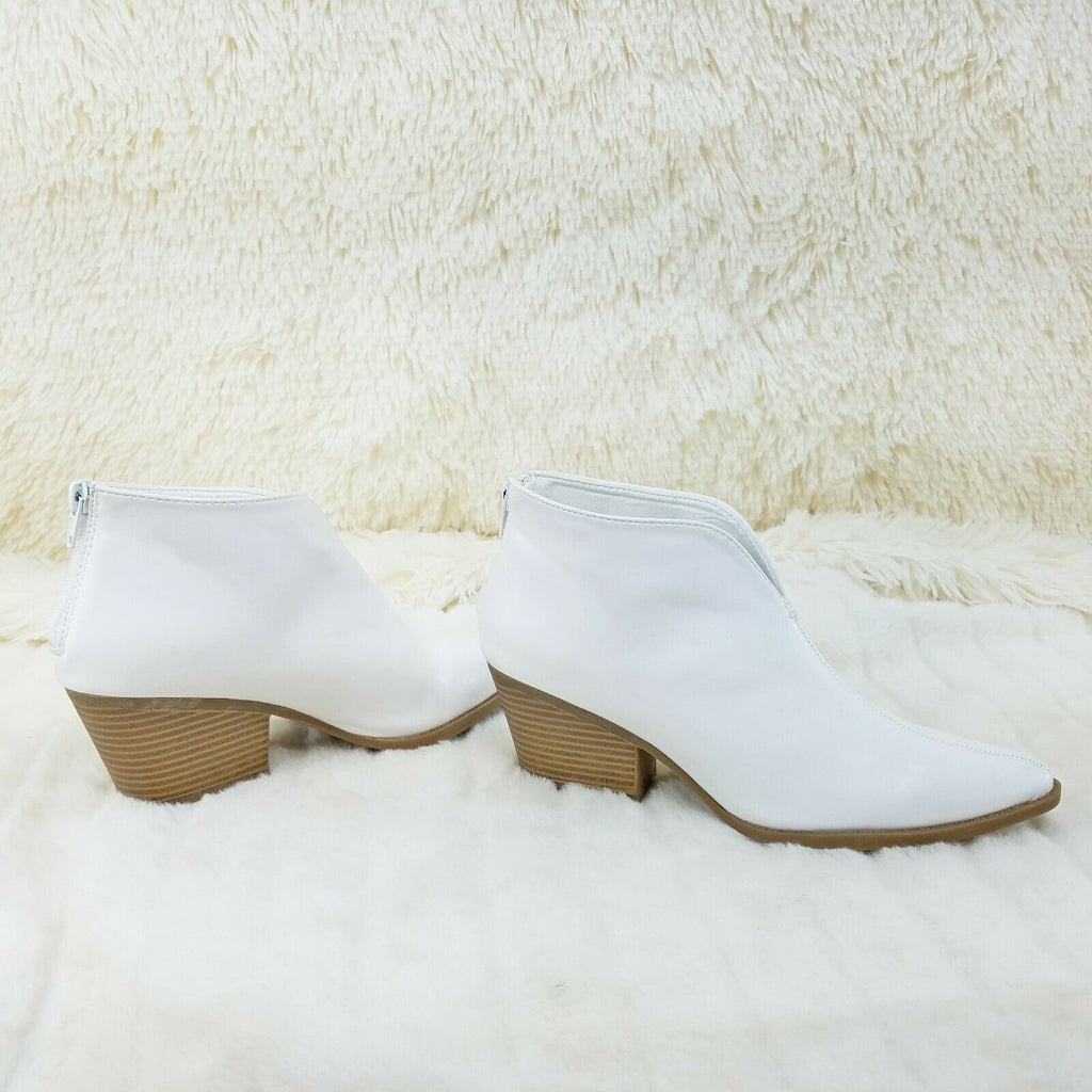 "Celeste White Cowgirl Ankle Bootie Boots 2.5"" Block Heels US Sizes - Totally Wicked Footwear"