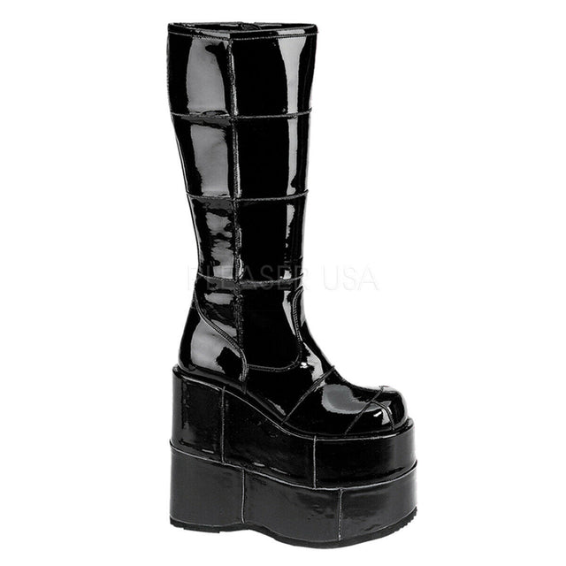 "Stack 301 Cyber Goth Gogo  7"" Stacked Platform Knee High Boot Black Pat"