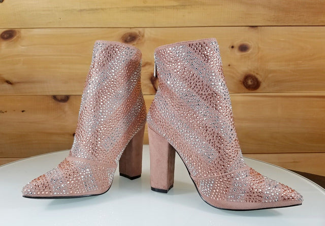 CR Mauve Rose Blush Iridescent Rhinestone Chunky High Heel Ankle Boot Sizes 6-11