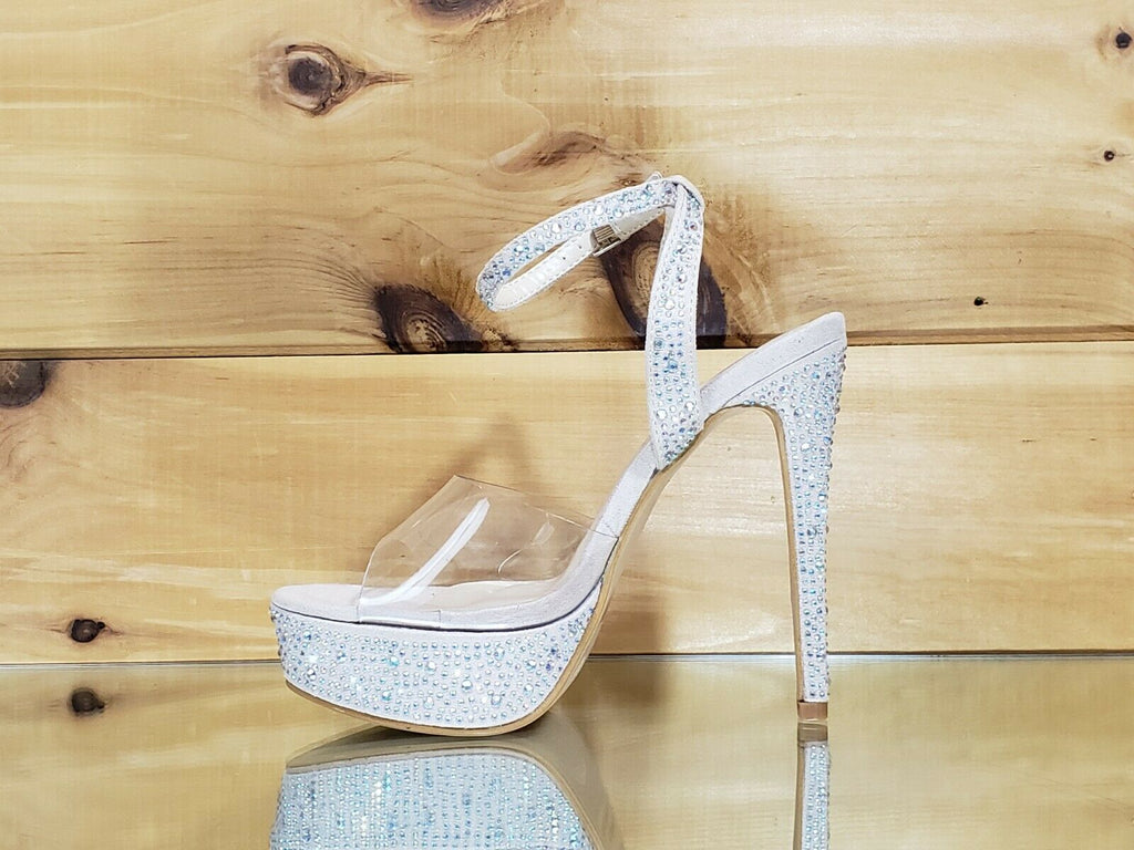 "Bella Luna Clear Toe Strap Iridescent Rhinestone Crystal Nude 5"" High Heel Shoes"