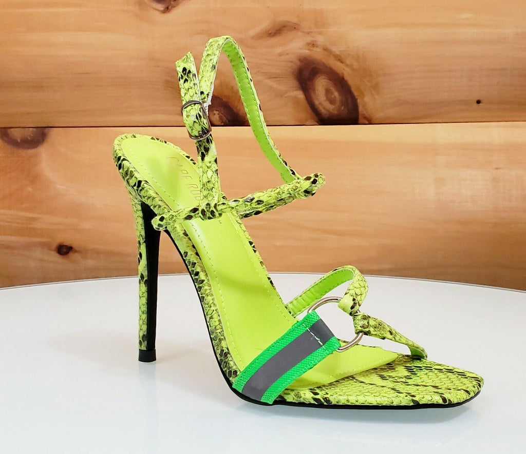 "CR Bright Neon Lime Open Square Toe Slingback Sandal 4.25"" High Heel Shoes 6-11"