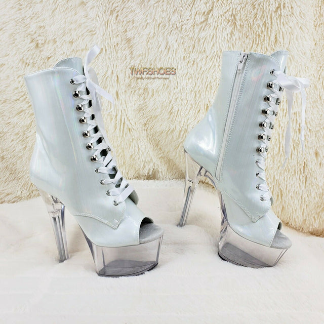 "Aspire 1021 White Brush Hologram Patent 6"" Heel Platform Ankle Boot Size 7 NY - Totally Wicked Footwear"