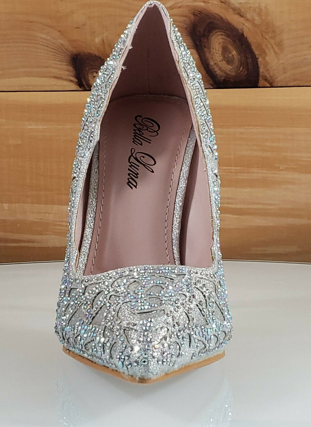 "Bella Luna Sofia Silver Cut Out Glitter Fabric Jeweled 4.5"" High Heel Pump Shoe"