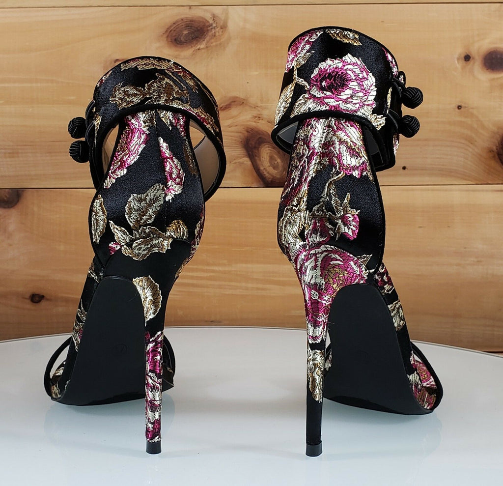 7bbf2bb21e04 Liliana Black Satin Embroidered Floral Ankle Strap 4.5