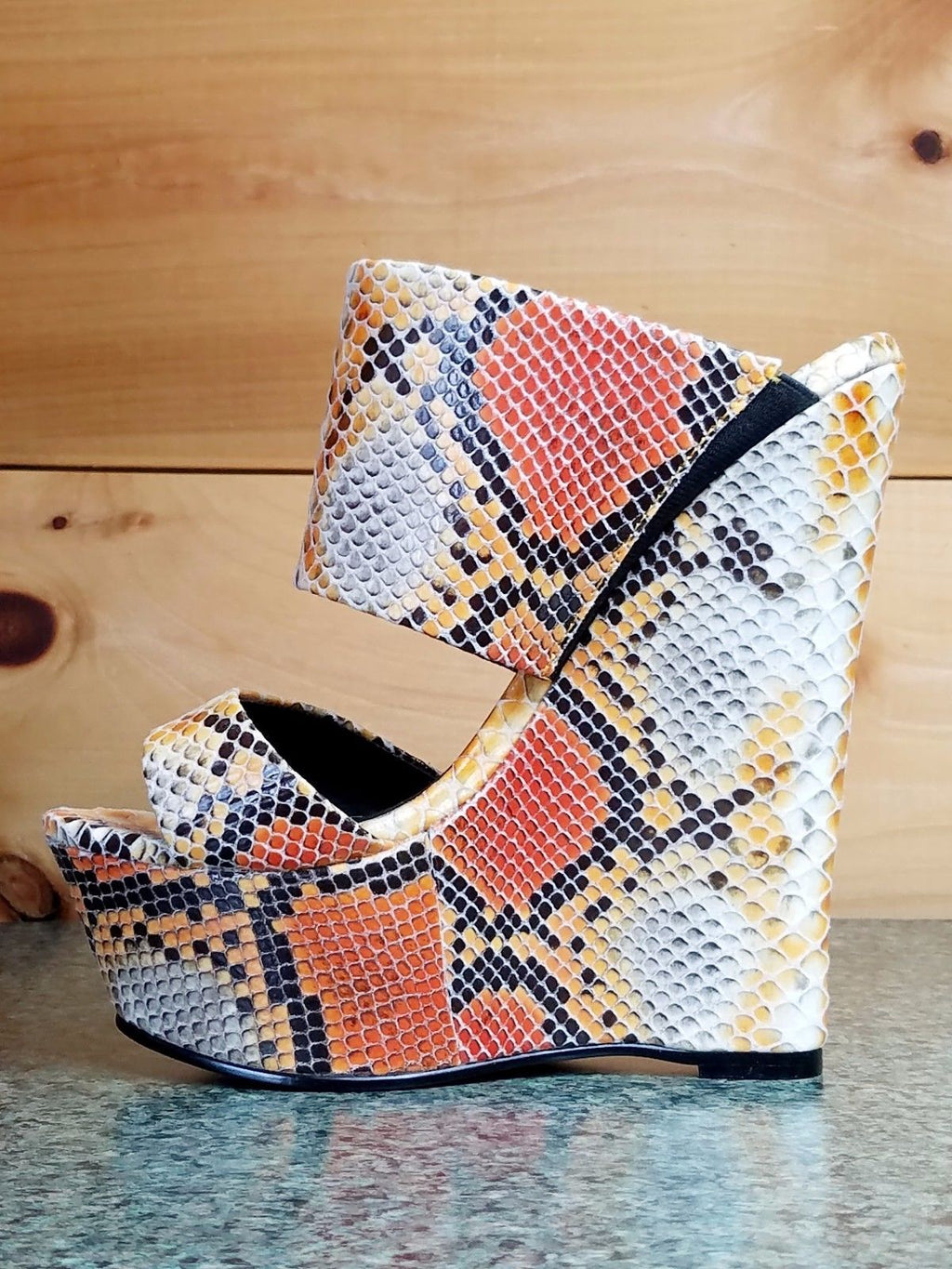 Nelly Bernal Pacs Nude Orange Snake Slip On Wedge Heel 6 -11