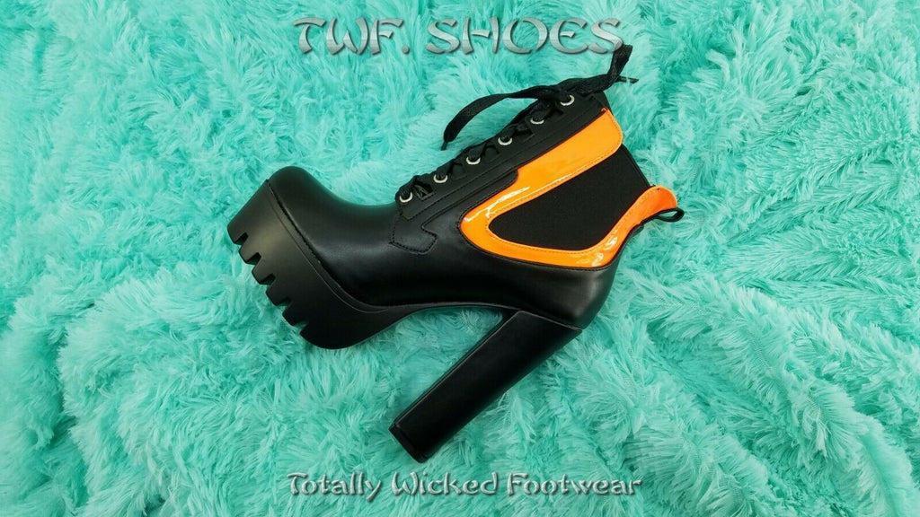 Bella Luna Kalea Black & Orange Chunky High Heel Lug Sole Ankle Boots 6-10 Black