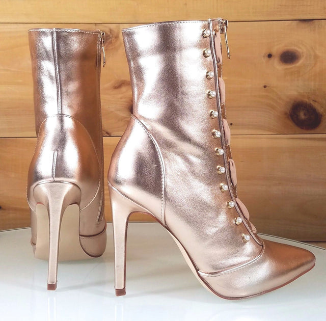 "CR GiGi Rose Gold Pointy Toe Ankle Boot Full Side Zipper 4"" High Heels 6-11"