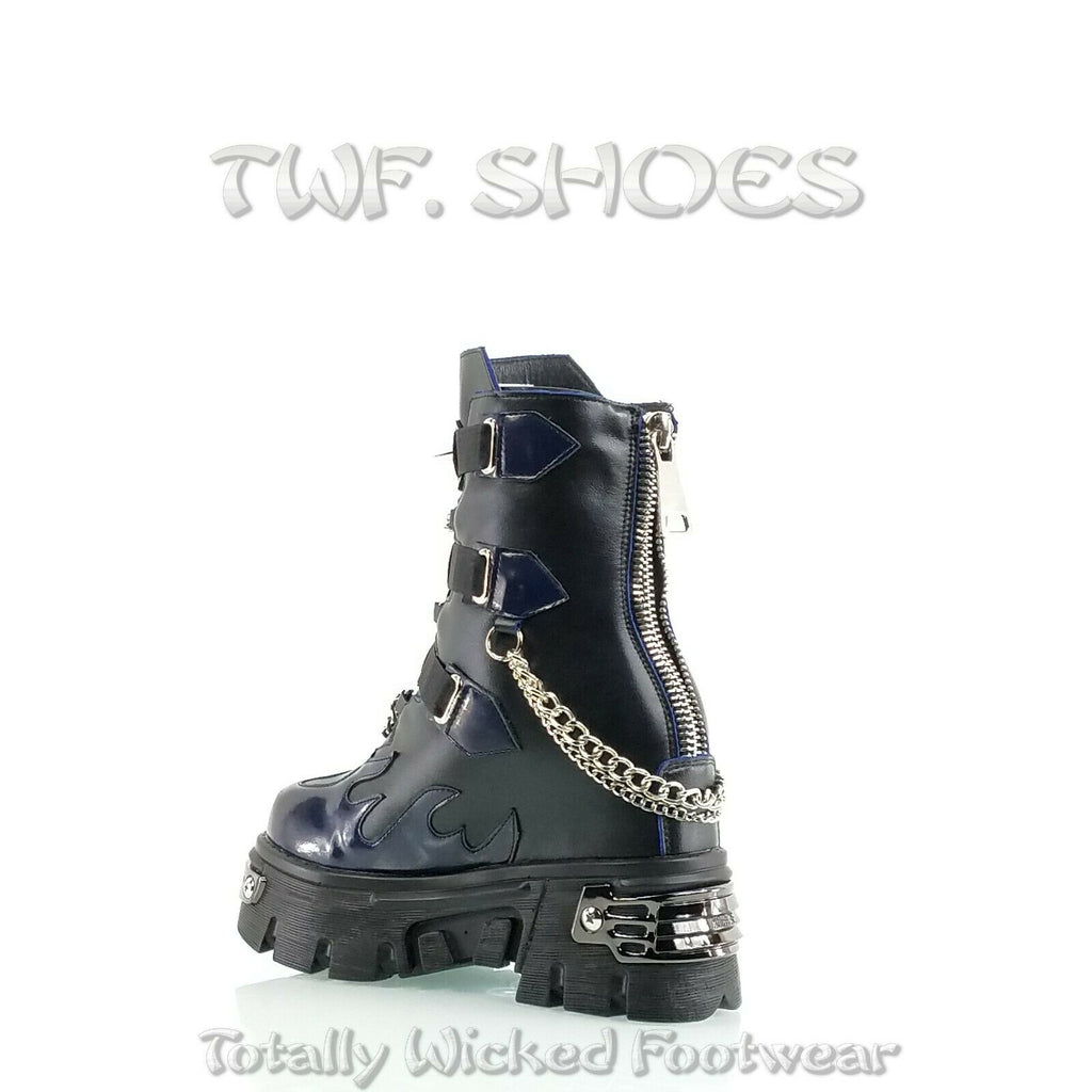 "WTF Dreamz Punk Goth 2.5"" Platform Ankle Boots Blue Flame Patch Chains Studs Anthony Wang"