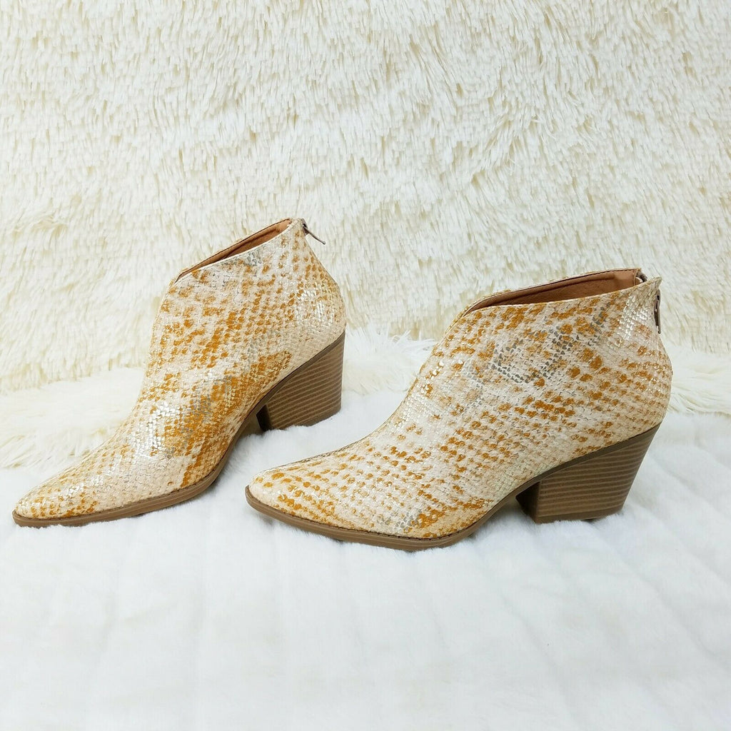 "Celeste Gold Snake Cowgirl Ankle Bootie Boots 2.5"" Block Heels US Sizes - Totally Wicked Footwear"